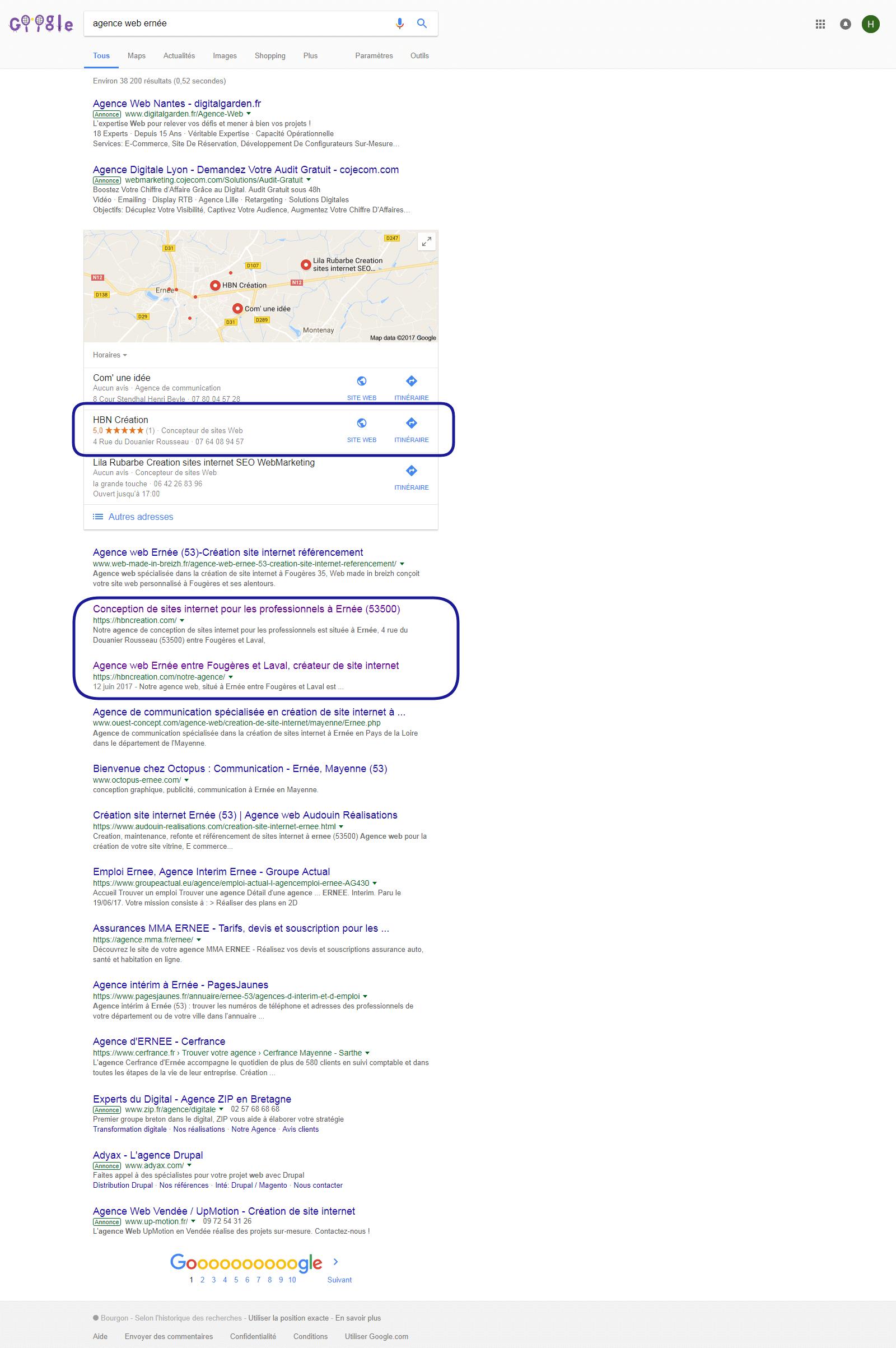 résultat référencement local